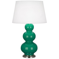 Robert Abbey EG42X Triple Gourd 33 inch 150 watt Emerald Green Table Lamp Portable Light in Antique Silver