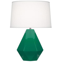 Robert Abbey EG930 Delta 23 inch 150 watt Emerald Green with Polished Nickel Table Lamp Portable Light in Oyster Linen
