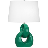Robert Abbey EG981 Fusion 27 inch 150 watt Emerald Green with Polished Nickel Table Lamp Portable Light