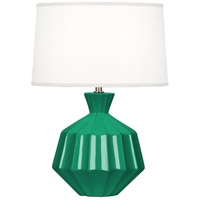Orion 18 inch 60 watt Emerald Green Table Lamp Portable Light, Polished Nickel Accents