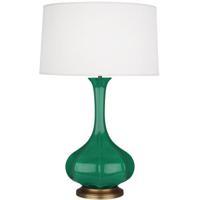 Robert Abbey EG994 Pike 32 inch 150 watt Emerald Green Table Lamp Portable Light in Aged Brass