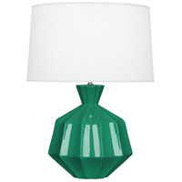 Robert Abbey EG999 Orion 27 inch 150 watt Emerald Green Table Lamp Portable Light, Polished Nickel Accents