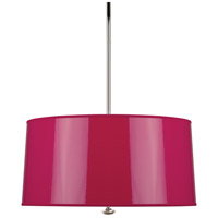 Robert Abbey F808 Penelope 3 Light 15 inch Polished Nickel Pendant Ceiling Light in Fuchsia Ceramik With Silver Mylar
