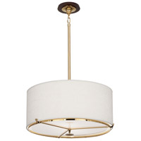 Edwin 2 Light 22 inch Polished Brass with Dark Walnut Wood Pendant Ceiling Light in Polished Nickel, Cream Brussels Linen