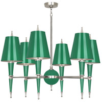 Robert Abbey G604 Jonathan Adler Versailles 6 Light 15 inch Emerald Lacquer with Polished Nickel Chandelier Ceiling Light in Emerald With Matte Silver