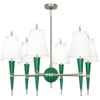Robert Abbey G604X Jonathan Adler Versailles 6 Light 15 inch Emerald Lacquer with Polished Nickel Chandelier Ceiling Light in Ascot White