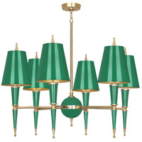 Robert Abbey G904 Jonathan Adler Versailles 6 Light 37 inch Emerald Paint with Modern Brass Chandelier Ceiling Light in Emerald Painted Opaque Parchment