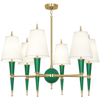 Robert Abbey G904X Jonathan Adler Versailles 6 Light 37 inch Emerald Paint with Modern Brass Chandelier Ceiling Light in Fondine Fabric
