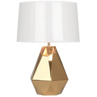 Robert Abbey G930 Delta 23 inch 150 watt Polished Gold with Polished Brass Table Lamp Portable Light in White Ceramik with Gold Mylar