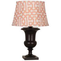 Robert Abbey JV46R Helena Al Fresco 30 inch 100 watt Java Brown Painted Table Lamp Portable Light in Orange Jacquard Sunbrella