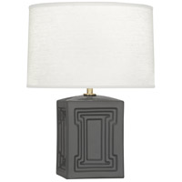 Robert Abbey LB51 Williamsburg Nottingham 18 inch 100 watt Dark Grey with Modern Brass Accent Lamp Portable Light in Lamp Black