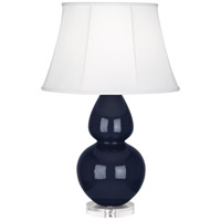 Robert Abbey MB23 Double Gourd 30 inch 150 watt Midnight Blue Table Lamp Portable Light in Lucite Ivory Silk
