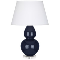 Robert Abbey MB23X Double Gourd 30 inch 150 watt Midnight Blue Table Lamp Portable Light in Lucite Pearl Dupioni