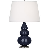 Robert Abbey MB32X Small Triple Gourd 24 inch 150 watt Midnight Blue Accent Lamp Portable Light in Antique Silver