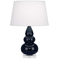 Robert Abbey MB33X Small Triple Gourd 24 inch 150 watt Midnight Blue with Lucite Table Lamp Portable Light