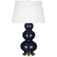 Robert Abbey MB40X Triple Gourd 33 inch 150 watt Midnight Blue Table Lamp Portable Light in Antique Brass