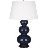 Robert Abbey MB41X Triple Gourd 33 inch 150 watt Midnight Blue Table Lamp Portable Light in Deep Patina Bronze