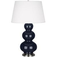 Robert Abbey MB42X Triple Gourd 33 inch 150 watt Midnight Blue Table Lamp Portable Light in Antique Silver