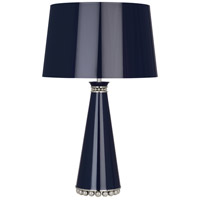 Robert Abbey MB45 Pearl 29 inch 150 watt Midnight Blue Lacquer with Polished Nickel Table Lamp Portable Light in Midnight Blue With Silver