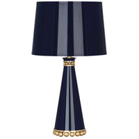 Robert Abbey MB46 Pearl 20 inch 60 watt Midnight Blue Lacquer with Modern Brass Accent Lamp Portable Light
