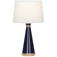 Robert Abbey MB46X Pearl 20 inch 60 watt Midnight Blue Lacquer with Modern Brass Accent Lamp Portable Light