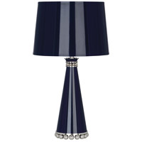 Robert Abbey MB47 Pearl 20 inch 60 watt Midnight Blue Lacquer with Polished Nickel Accent Lamp Portable Light