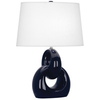 Robert Abbey MB981 Fusion 27 inch 150 watt Midnight Blue with Polished Nickel Table Lamp Portable Light