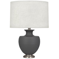 Robert Abbey MCR20 Michael Berman Atlas 25 inch 150 watt Matte Ash with Dark Antique Nickel Table Lamp Portable Light
