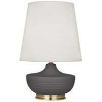 Robert Abbey MCR24 Michael Berman Nolan 28 inch 150 watt Matte Ash with Modern Brass Table Lamp Portable Light