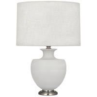 Robert Abbey MDV20 Michael Berman Atlas 25 inch 150 watt Matte Dove with Dark Antique Nickel Table Lamp Portable Light