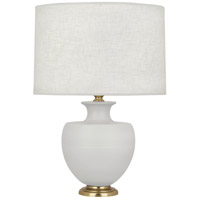 Robert Abbey MDV21 Michael Berman Atlas 25 inch 150 watt Matte Dove with Modern Brass Table Lamp Portable Light