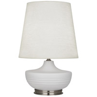 Robert Abbey MDV23 Michael Berman Nolan 28 inch 150 watt Matte Dove with Dark Antique Nickel Table Lamp Portable Light