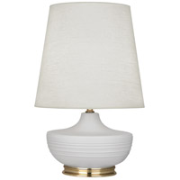 Robert Abbey MDV24 Michael Berman Nolan 28 inch 150 watt Matte Dove with Modern Brass Table Lamp Portable Light
