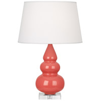 Small Triple Gourd 24 inch 150 watt Melon with Lucite Table Lamp Portable Light, Lucite Base