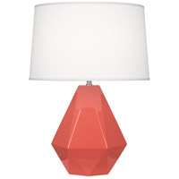 Robert Abbey ML930 Delta 23 inch 150 watt Melon with Polished Nickel Table Lamp Portable Light in Oyster Linen Polished Nickel Accents