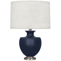 Robert Abbey MMB20 Michael Berman Atlas 25 inch 150 watt Matte Midnght Blue with Dark Antique Nickel Table Lamp Portable Light in Matte Midnight Blue