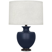 Robert Abbey MMB22 Michael Berman Atlas 25 inch 150 watt Matte Midnight Blue with Deep Patina Bronze Table Lamp Portable Light