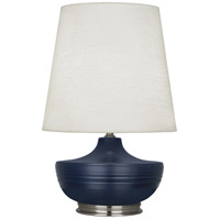 Robert Abbey MMB23 Michael Berman Nolan 28 inch 150 watt Matte Midnight Blue with Dark Antique Nickel Table Lamp Portable Light