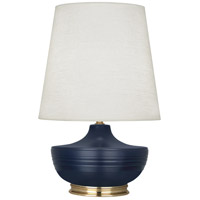Robert Abbey MMB24 Michael Berman Nolan 28 inch 150 watt Matte Midnight Blue with Modern Brass Table Lamp Portable Light