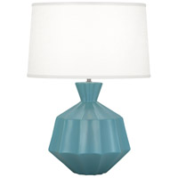 Robert Abbey MOB17 Orion 27 inch 150 watt Matte Steel Blue Table Lamp Portable Light Polished Nickel Accents