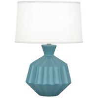 Robert Abbey MOB18 Orion 18 inch 60 watt Matte Steel Blue Table Lamp Portable Light Polished Nickel Accents