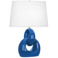 Robert Abbey MR981 Fusion 27 inch 150 watt Marine Blue with Polished Nickel Table Lamp Portable Light