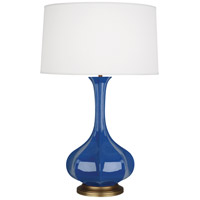 Robert Abbey MR994 Pike 32 inch 150 watt Marine Blue Table Lamp Portable Light in Aged Brass