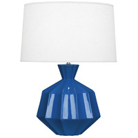 Robert Abbey MR999 Orion 27 inch 150 watt Marine Blue Table Lamp Portable Light Polished Nickel Accents