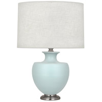 Robert Abbey MSB20 Michael Berman Atlas 25 inch 150 watt Matte Sky Blue with Dark Antique Nickel Table Lamp Portable Light