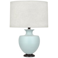 Robert Abbey MSB22 Michael Berman Atlas 25 inch 150 watt Matte Sky Blue with Deep Patina Bronze Table Lamp Portable Light