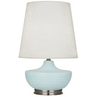 Robert Abbey MSB23 Michael Berman Nolan 28 inch 150 watt Matte Sky Blue with Dark Antique Nickel Table Lamp Portable Light