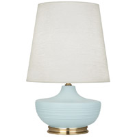 Robert Abbey MSB24 Michael Berman Nolan 28 inch 150 watt Matte Sky Blue with Modern Brass Table Lamp Portable Light