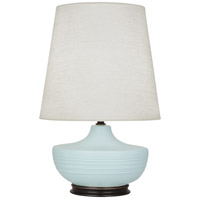 Robert Abbey MSB25 Michael Berman Nolan 28 inch 150 watt Matte Sky Blue with Deep Patina Bronze Table Lamp Portable Light