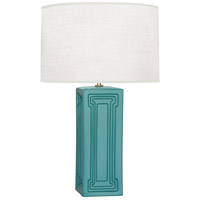 Williamsburg Nottingham 30 inch 150 watt Blue Green with Modern Brass Table Lamp Portable Light in Mayo Teal